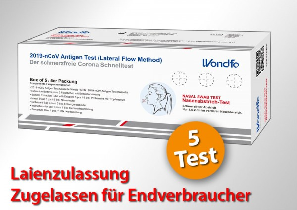 WONDFO - 5er Laientest (Nasenbohrertest) mit Sonderzulassung